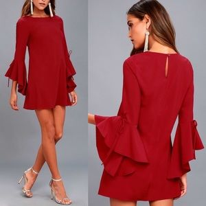 LULU'S Red Made for Me Flounce Sleeve Shift Dress